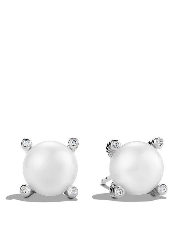 with Diamonds デイビット・ユーマン Pearl レディース Earrings ピアス・イヤリング Silver アクセサリー