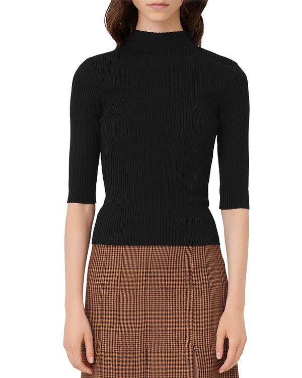 マージュ レディース ニット・セーター アウター Manu Rib Knit Mock Neck Sweater Black