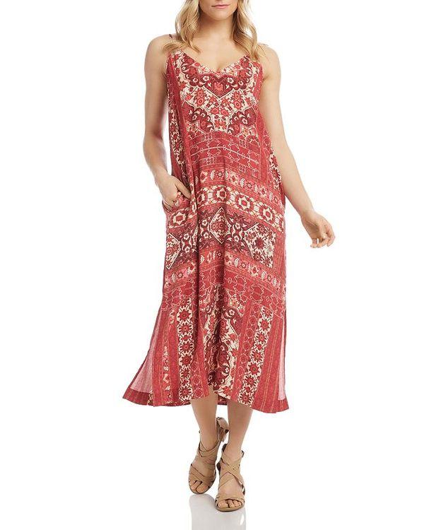 Side-Slit レディース トップス Midi Printed Dress カレンケーン Print ワンピース