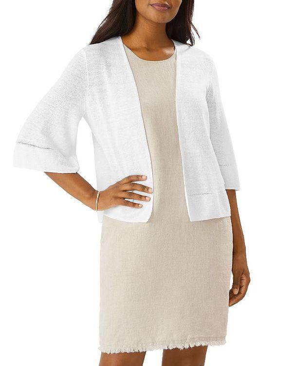 トッミーバハマ アウター Linen Open Front Lea White レディース Cardigan ニット・セーター