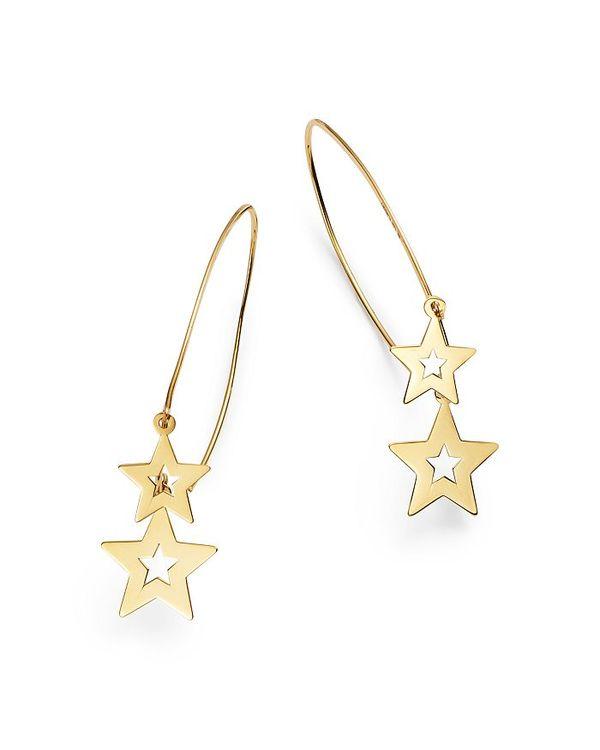 最も優遇の ムーン & Yellow メドウ レディース ピアス・イヤリング アクセサリー 100% Double Star Gold Wire Drop Earrings in 14K Yellow Gold - 100% Exclusive Gold, 品質検査済:ddd4a57c --- dibranet.com
