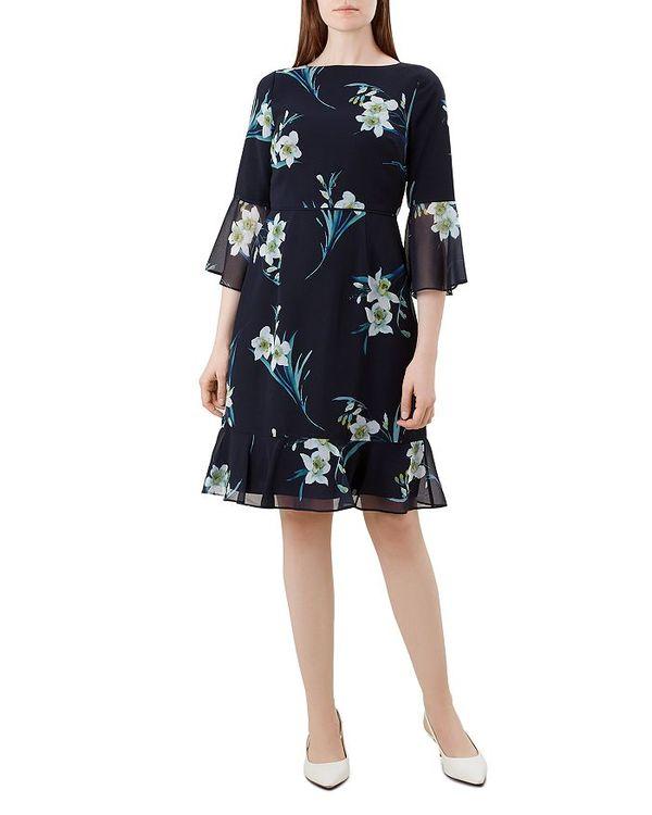 開店祝い ホッブスロンドン レディース ワンピース トップス Multi Adriana レディース Bell-Sleeve Dress Navy Adriana Multi, 最上郡:2a719b87 --- dibranet.com
