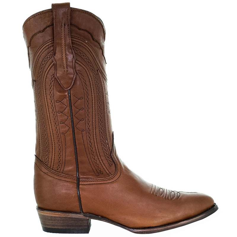 希少 送料無料 35%OFF サイズ交換無料 コーラルブーツ メンズ シューズ ブーツ レインブーツ Round Embroidery Cowboy Toe Cognac Boots