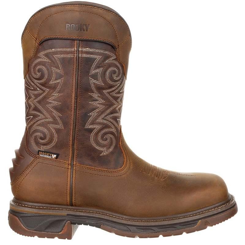 送料無料 サイズ交換無料 ロッキー メンズ シューズ ブーツ レインブーツ Medium Brown Chocolate Skull 11 Toe Work Western Waterproof Iron 格安店 Composite Boots inch 在庫処分