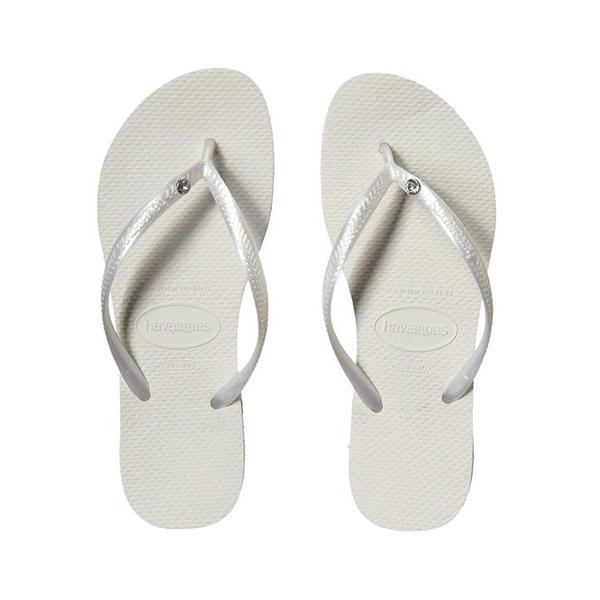 ハワイアナス レディース サンダル シューズ Slim Crystal Glamour SW Flip Flops White/Metallic