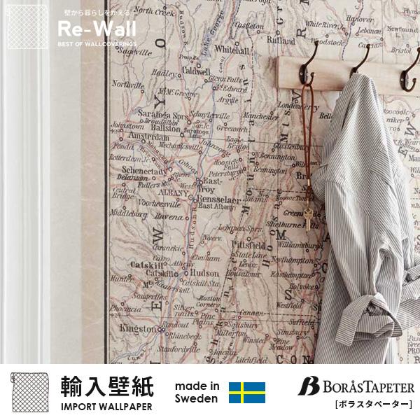 壁紙 はがせる 輸入壁紙 スウェーデン製 BORASTAPETER ボラスタペーター Lexington 巾135cmx高さ186cm パネルタイプ 地図 貼ってはがせる壁紙 フリース壁紙 はがせる壁紙 賃貸 diy おしゃれ 北欧