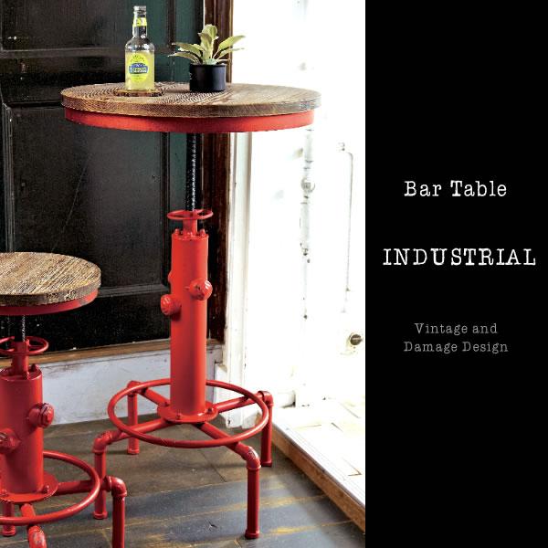 バーテーブル 高さ84~100cm ハイテーブル リフトテーブル ラウンドテーブル カウンターテーブル テーブル 机 高さ調整 丸型 円形 ブルックリン アンティーク ハイテーブル 幅60cm ヴィンテージ インダストリアル KNT-A801