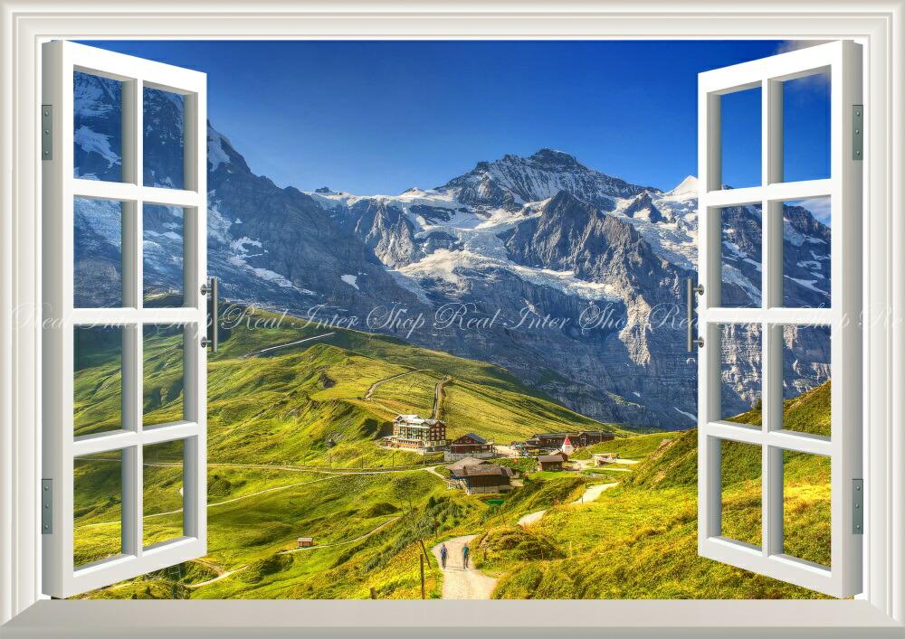 Wall paper + weatherability paint interior for scenery - Switzerland Alps  Overland Miyama メンヒユングフラウグリンデルワルトキャラ