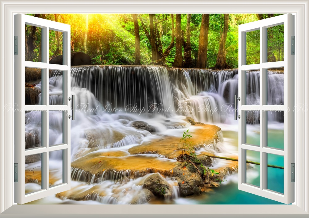 Wall Paper Weatherability Paint Interior For Scenery Waterfall Nature Forest Bluish Green Yellow Healing Change Southern Country Character Black