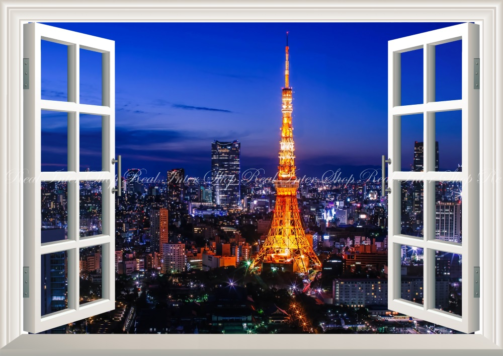 Wall paper + weatherability paint interior for scenery - Tokyo Tower night  view Tokyo Olympics character black TKT-004MA1 (830mm *585mm for A1)