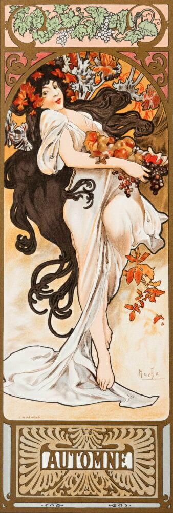 絵画風 壁紙ポスター (はがせるシール式) アルフォンス・ミュシャ 四季-秋- Autumn 1897年 四季シリーズ 連作 アールヌーヴォー キャラクロ K-MCH-037S1 (576mm×1706mm) 建築用壁紙+耐候性塗料 インテリア