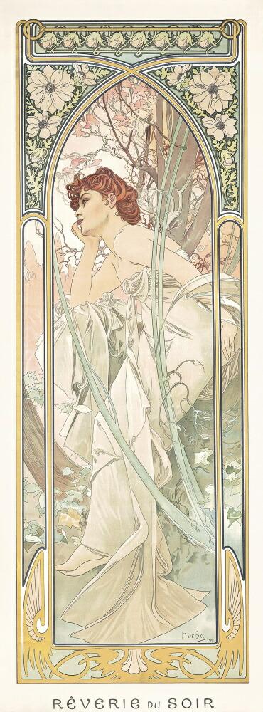 絵画風 壁紙ポスター (はがせるシール式) アルフォンス・ミュシャ 四つの時の流れ-夕べの夢想 1899年 アールヌーヴォー キャラクロ K-MCH-065S1 (576mm×1555mm) 建築用壁紙+耐候性塗料 インテリア