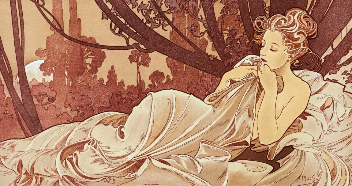絵画風 壁紙ポスター (はがせるシール式) アルフォンス・ミュシャ 黄昏 1899年 アールヌーヴォー キャラクロ K-MCH-084S1 (1090mm×576mm) 建築用壁紙+耐候性塗料 インテリア