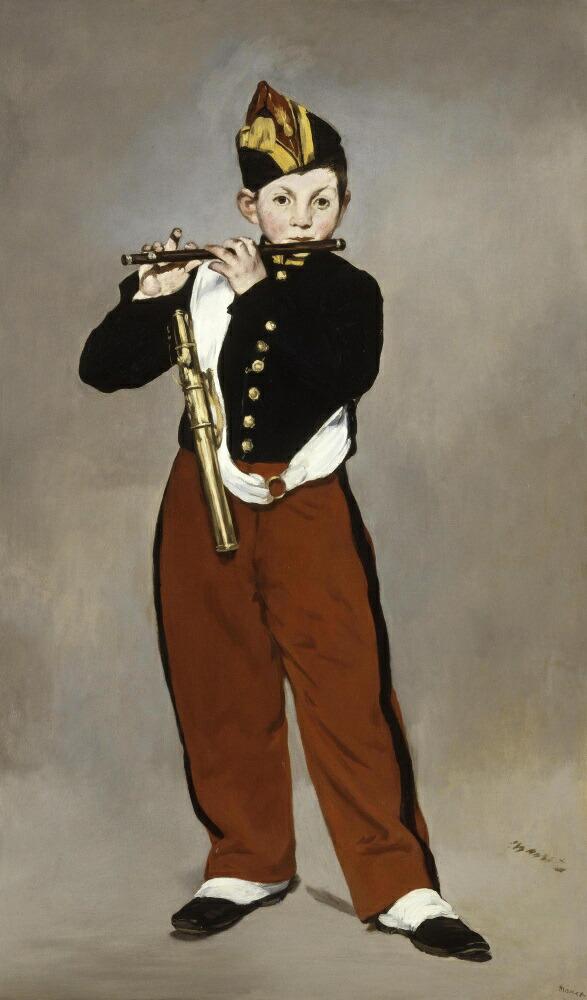 絵画風 壁紙ポスター (はがせるシール式) エドゥアール・マネ 笛吹きの少年 1866年 オルセー美術館 キャラクロ K-MNT-004S1 (576mm×980mm) 建築用壁紙+耐候性塗料 インテリア
