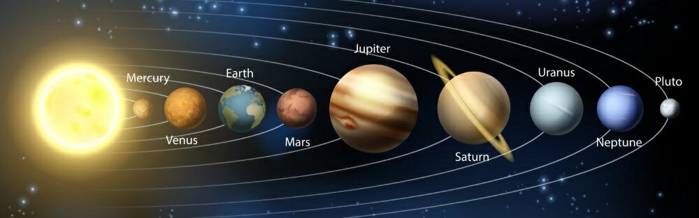 絵画風 壁紙ポスター (はがせるシール式) 太陽系の惑星 水金地(月) 火木土天冥海 天体 宇宙 神秘 キャラクロ パノラマ キャラクロ SOLS-003L1 (パノラマL版 1843mm×576mm) 建築用壁紙+耐候性塗料 インテリア