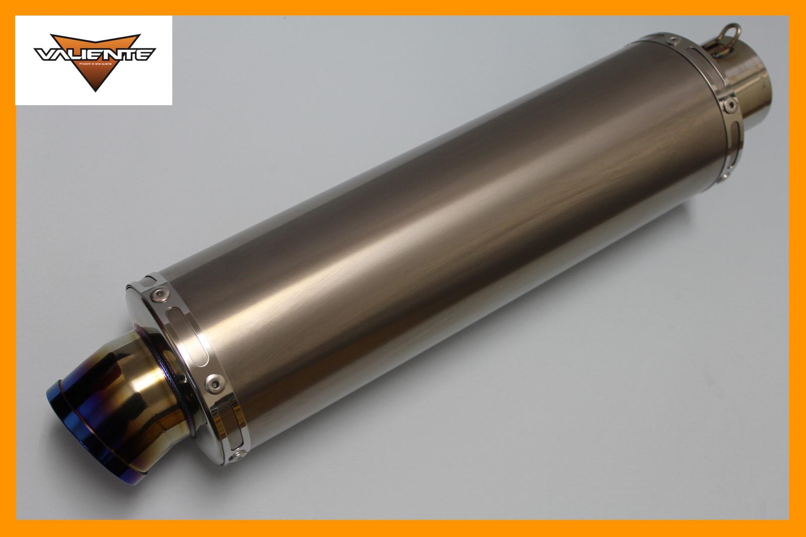 汎用チタンサイレンサー 60.5Φ用です Valiente 10%OFF バリエンテ 引き出物 60.5Φ用 バイクマフラー ブルーカラー 100Φ×350mm