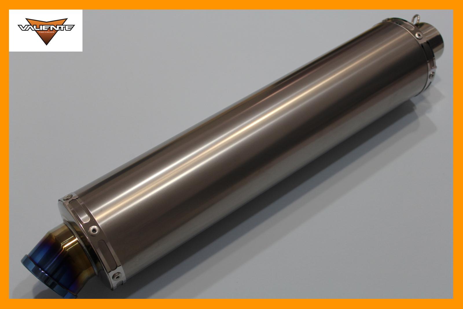 汎用チタンサイレンサー 50.8Φ用です Valiente 永遠の定番モデル 通信販売 バリエンテ バイクマフラー 50.8Φ用 ブルーカラー 100Φ×450mm