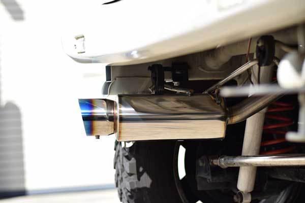 -bluefin- ジムニー マフラー JB23 ステンレス 2ピース 左出し ブルー 砲弾型 トルクタイプ