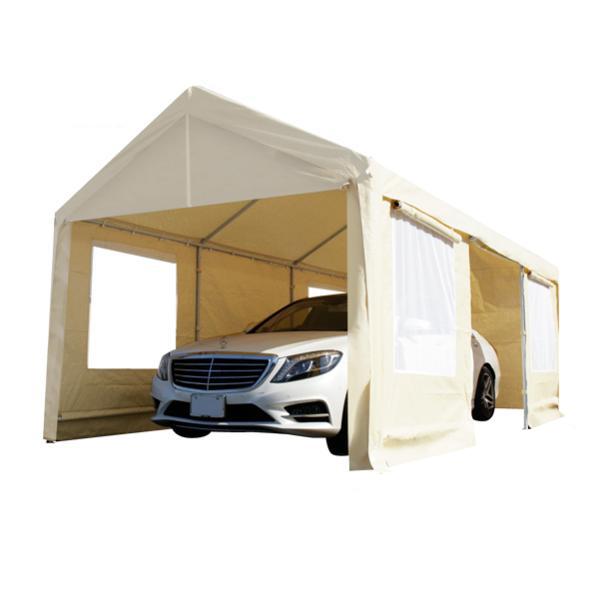 SS ガレージテント 3×6m 車庫テント サイドパネル 窓付き メッシュ イベント キャンプ スチールフレーム ###車庫テント0106 ### CANOPY タープテント 定価 6m×3m ギフト 車庫 カーポート アウトドア