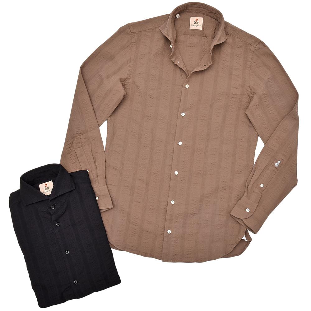 GUY ROVER ギローバーコットン ジャガードストライプ ワイドカラーシャツ