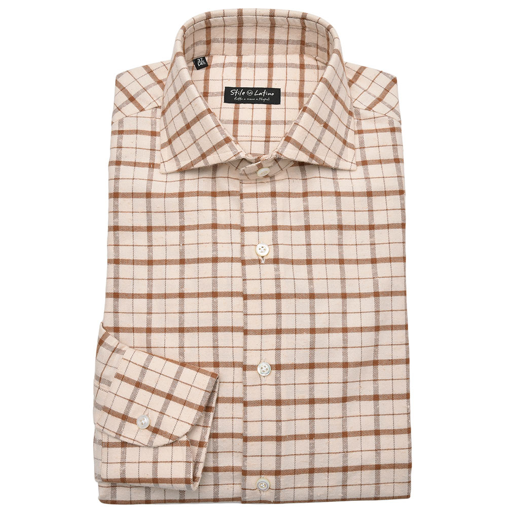 Stile Latino スティレ ラティーノコットン フランネル ネップ チェック ワイドカラー ドレスシャツ