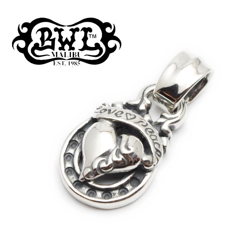 【Bill Wall Leather/BWL/ビルウォールレザー】ペンダント/PN1037-C:Heart with Banner Medium Horseshope Pendant