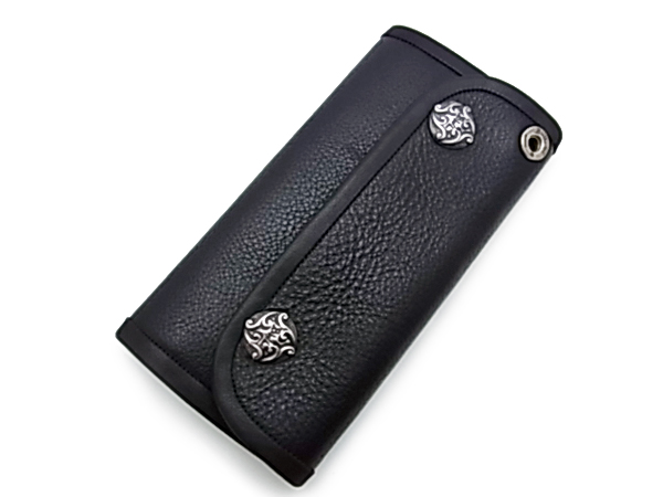 【BWL ビルウォールレザー】ロングウォレット/W906 Large Currency Flat Black Itlian Leather