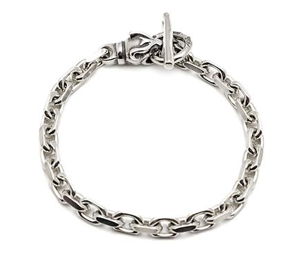 【B.W.L. ビルウォールレザー】ブレスレット/B563-P Square Chain Link w/animal head (PANTHER)