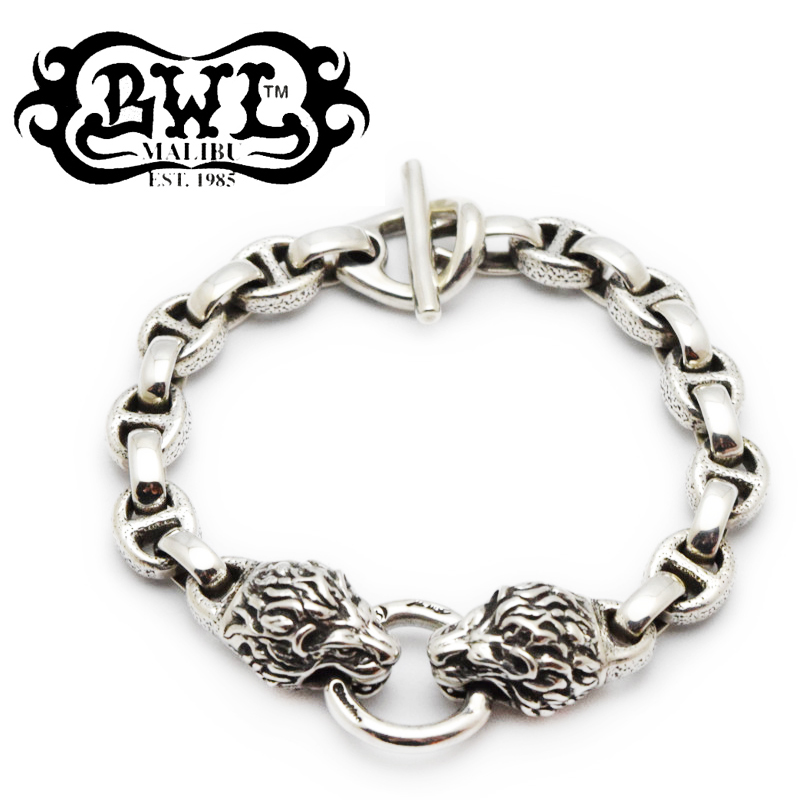 【BWL ビルウォールレザー】ブレスレット/B587:Small Hammered Boat Link Chain Link w/Animal Head w/ T-bar (Lion) !REAL DEAL