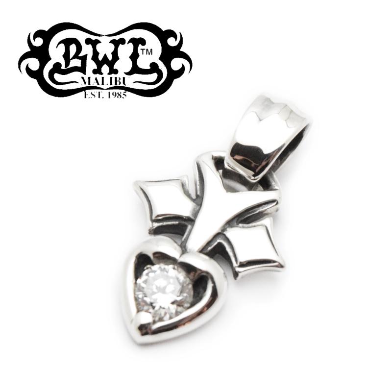 【BWL/ビルウォールレザー】チャーム/C319:Pierced Heart with Stone クリアジルコニア★REAL DEAL