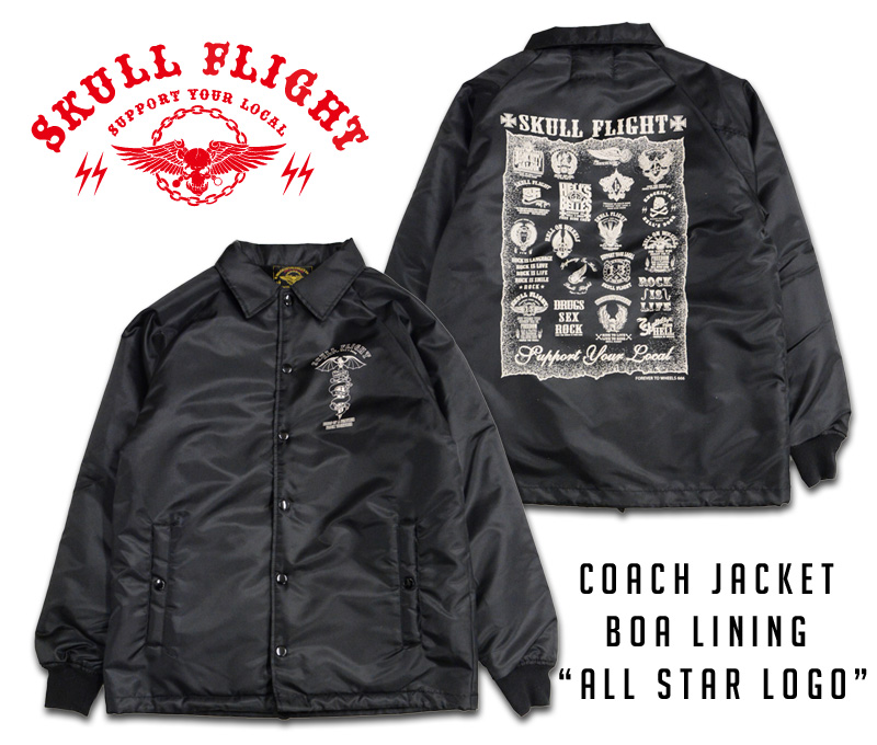 "【SKULL FLIGHT/スカルフライト】コーチジャケット/COACH JACKET BOA LINING ""ALLSTAR LOGO""★REAL DEAL"