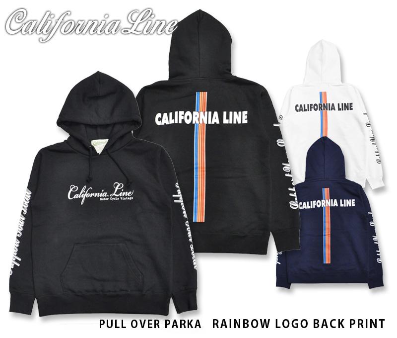 【CALIFORNIA LINE/カリフォルニアライン】スウェットパーカー/PULL OVER PARKA:RAINBOW LOGO BACK PRINT/ CLC19-002★REALDEALSKULL FLIGHT/スカルフライト/CALIFORNIA LINE/カリフォルニアライン/ハーレー/バイカー/アメカジ