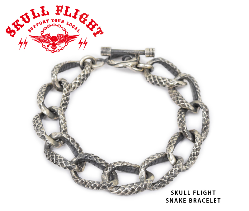 【SKULL FLIGHT/スカルフライト】ブレスレット/SNAKE BRACELET★REALDEALSKULL FLIGHT/スカルフライト/CALIFORNIA LINE/カリフォルニアライン/ハーレー/バイカー/アメカジ