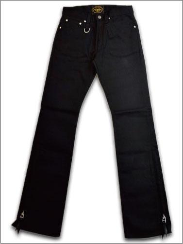 【SKULL FLIGHT スカルフライト】SS PANTS Type2/極厚ハードピケライディングブーツカットパンツ(ブラック) !!★REAL DEAL