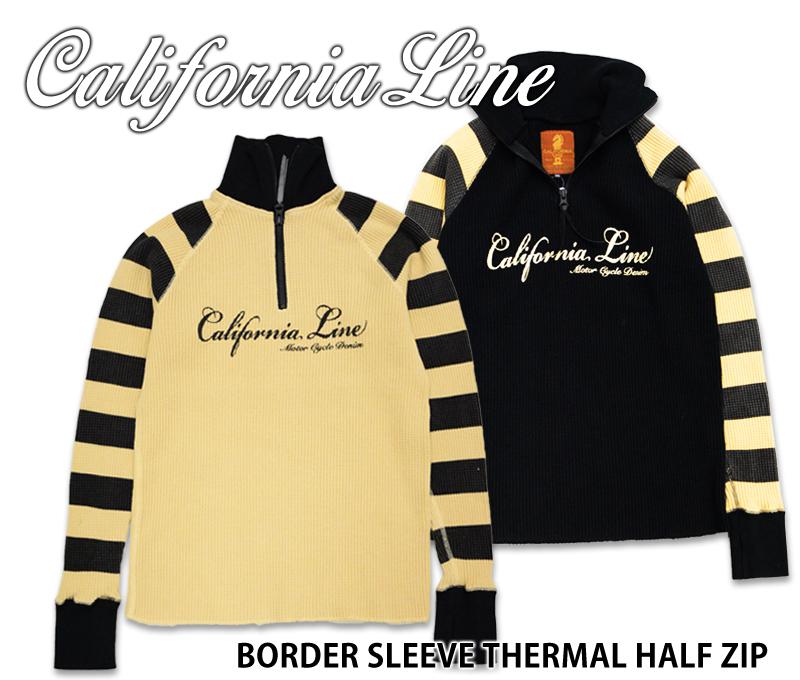 【CALIFORNIA LINE/カリフォルニアライン】サーマルハーフジップシャツ/ボーダースリーブサーマルハーフジップ★REAL DEAL
