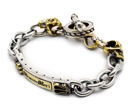 【galcia ガルシア】ブレスレット/C-BR-MSK010SB MEXICAN CALAVERA/SV&BR BRACELET !REAL DEAL