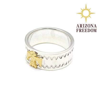 【ARIZONA FREEDOM アリゾナフリーダム】リング/RING No.7/K18 小サンダーバード付リング(6mm)REAL DEAL