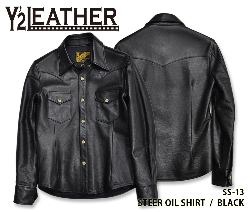 【Y'2 LEATHER/ワイツーレザー】レザーシャツ/SS-13 STEER OIL WESTERN SHIRT BLACK(サイズ:36~42)★REAL DEAL