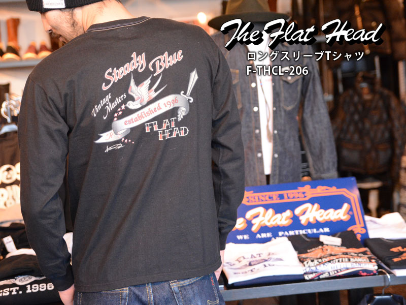【THE FLAT HEAD/フラットヘッド】L/S TEE:THC LONG SLEEVE - STEADY BLUE / F-THCL-206★REAL DEAL