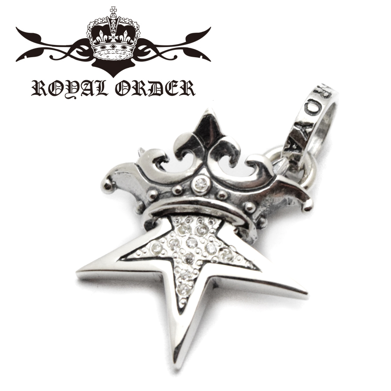 【ROYAL ORDER ロイヤルオーダー】ペンダント/SP245-PCZ:SMALL SOLID STAR WITH CROWN WITH PAVED CZ (クリアジルコニア) !REAL DEAL