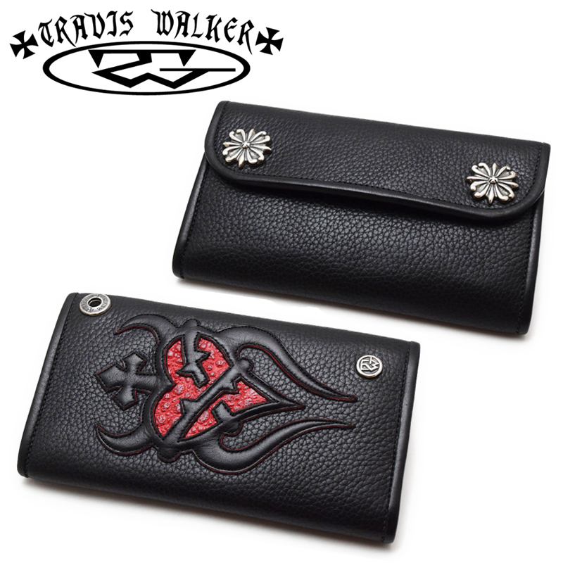 【Travis Walker トラヴィスワーカー】ウォレット/4W01-08:Large3-Fold-Sacred Heart Wallet-Black Leather-Red Frog Inlay and Red Trim!REAL DEAL