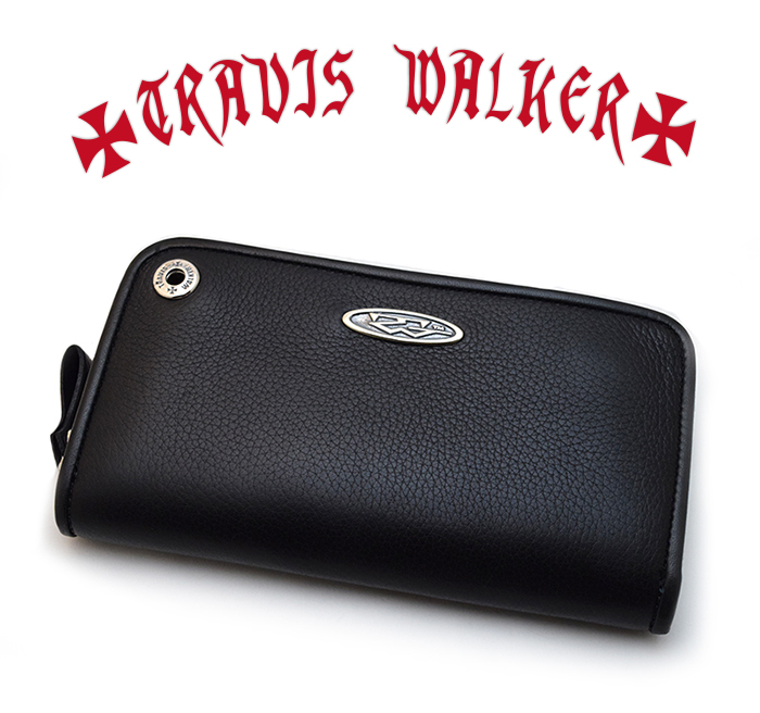 【Travis Walker トラヴィスワーカー】ロングウォレット/8W01-PLATE/ROUND ZIP WALLET-COW HIDE BLACK WITH TW OVAL PLATE!REAL DEAL