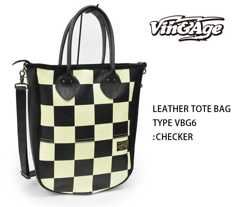 [再販ご予約限定送料無料] VinAge ヴィンアンドエイジ トートバッグ LEATHER TOTE VBG6 BAG:TYPE :チェッカー 贈与 REALDEAL