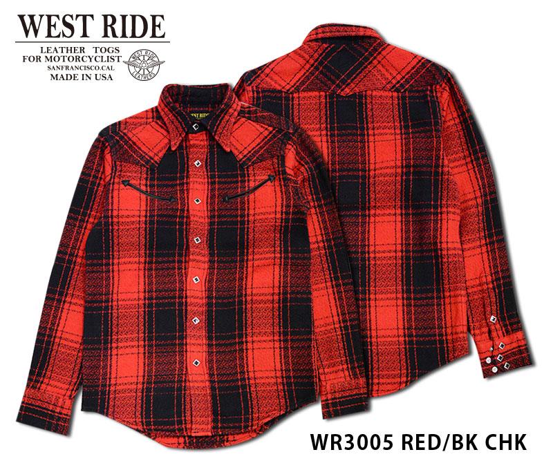 【WESTRIDE/ウエストライド】長袖シャツ/ WR3005 RED/BK CHK★REALDEAL