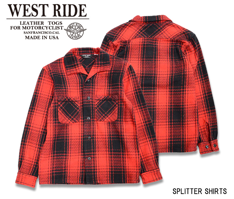 【WESTRIDE/ウエストライド】長袖シャツ/SPLITTER SHIRTS RED BK CHK★REALDEAL