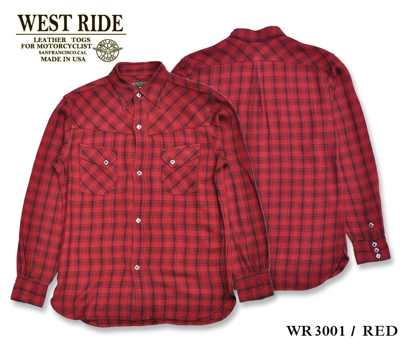【WESTRIDE/ウエストライド】長袖シャツ/WR3001 RED★REALDEAL