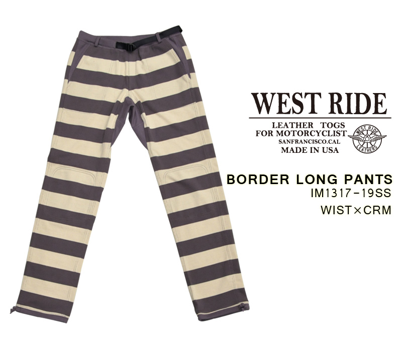 【WEST RIDE】ボトム/ BORDER LONG PANTS:ウィステリア×クリーム★REAL DEAL