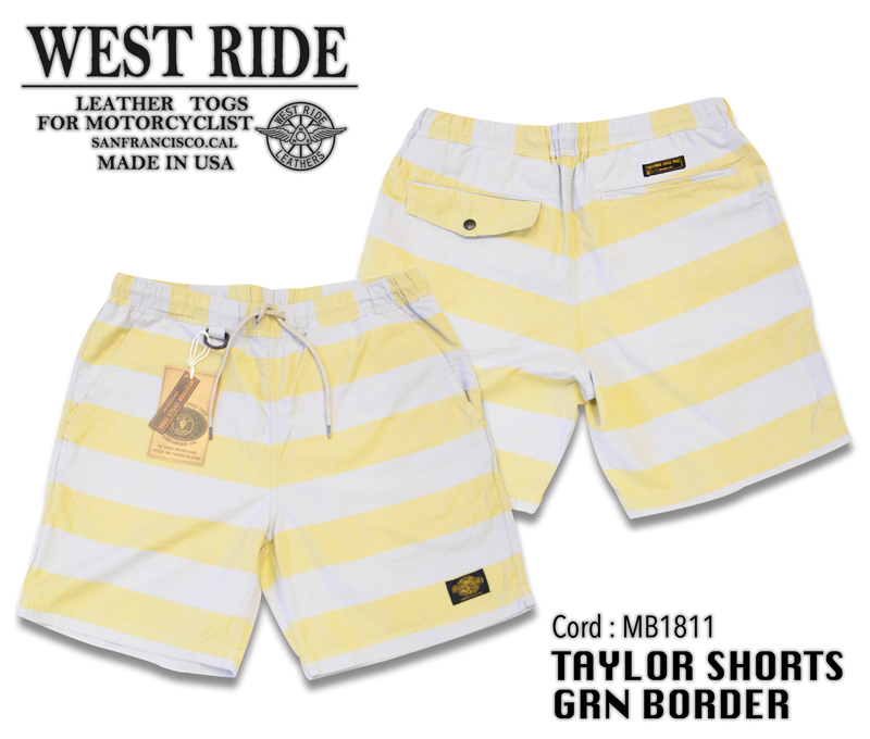 【WESTRIDE/ウエストライド】ショーツ/TAYLOR SHORTS GRN BORDER★REAL DEAL
