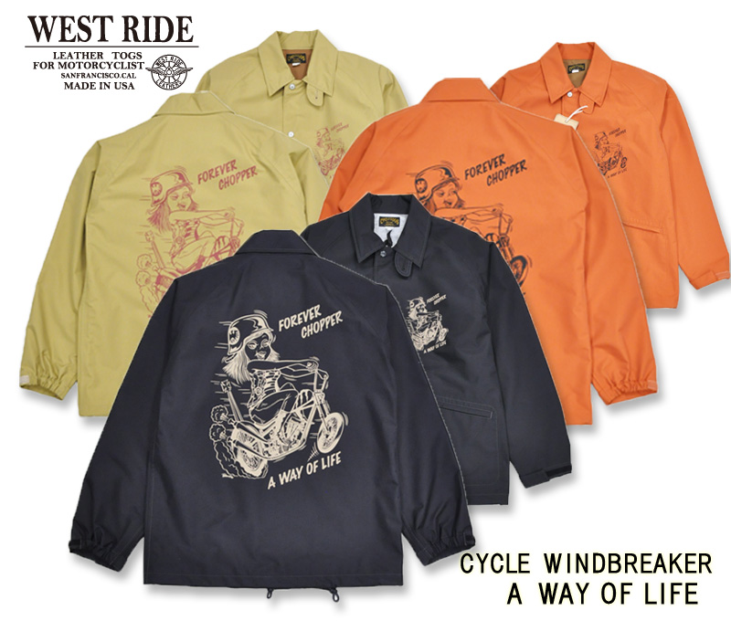 【WESTRIDE/ウエストライド】ウィンドブレーカー/ CYCLE WINDBREAKER A WAY OF LIFE ★REAL DEAL