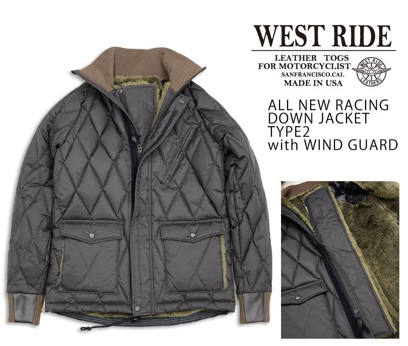 【WESTRIDE ウエストライド】ジャケット/ALL NEW RACING DOWN JACKET TYPE2 ウィンドガード付きブラック×ブラウンリブ★REAL DEAL